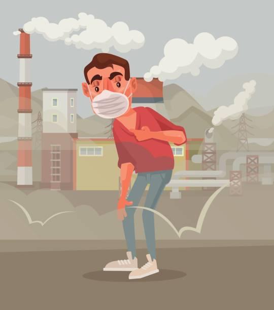 der mensch in die schutzmaske. verschmutzte luft - kaminverkleidungen stock-grafiken, -clipart, -cartoons und -symbole