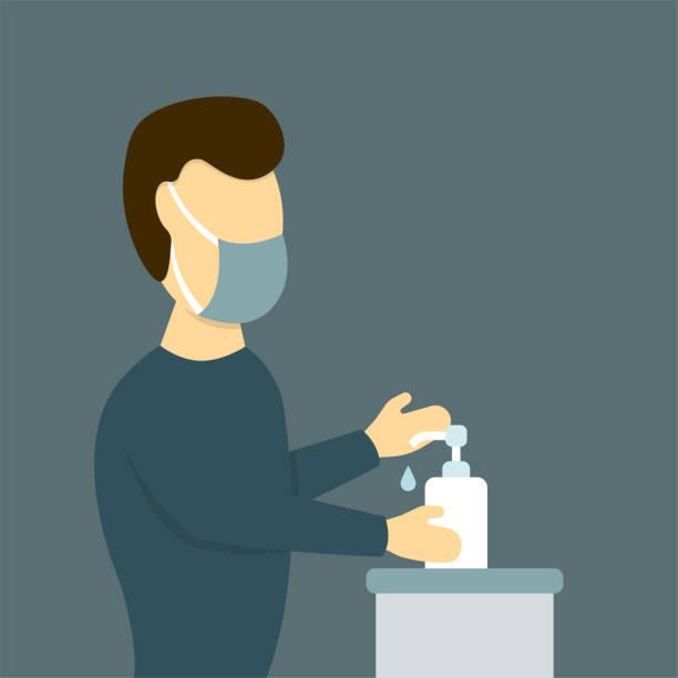 戴防護面具的人使用洗手液向量藝術插圖