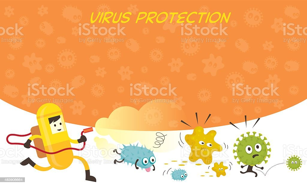 Man in Protective Suit Run Spraying Germ Characters vector art illustration
