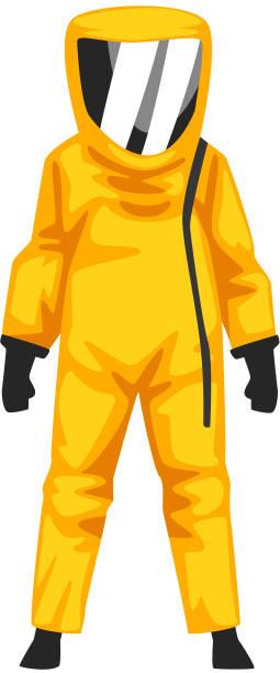 illustrazioni stock, clip art, cartoni animati e icone di tendenza di man in radiation protective suit and helmet, professional safety uniform vector illustration - tuta protettiva