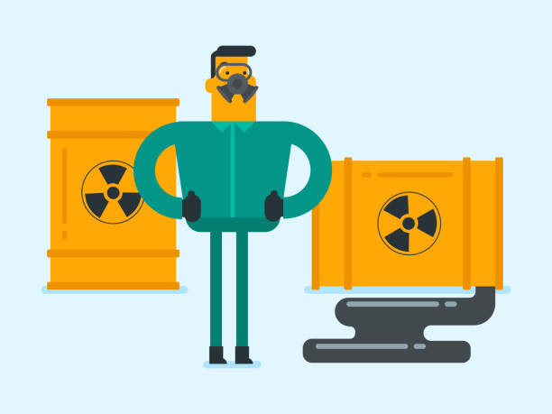 man in radiation protective suit and respirator - cartoon of a hazmat suit stock illustrations, clip art, cartoons, & icons