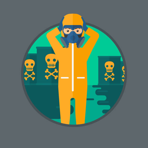 man in radiation protective suit - cartoon of a hazmat suit stock illustrations, clip art, cartoons, & icons
