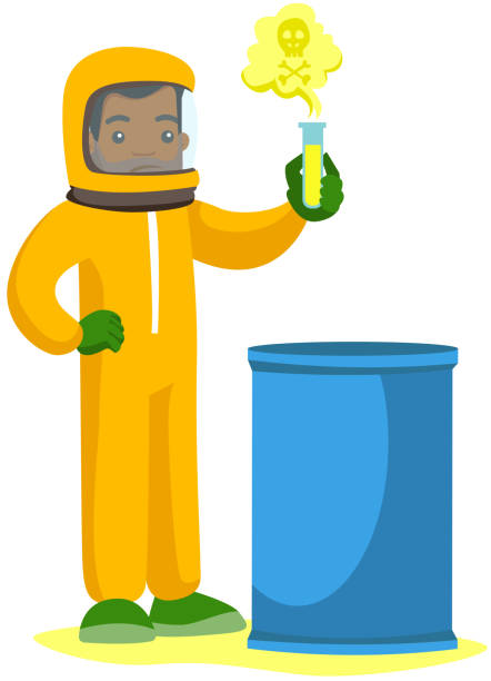 man in radiation protective suit with test tube - cartoon of a hazmat suit stock illustrations, clip art, cartoons, & icons