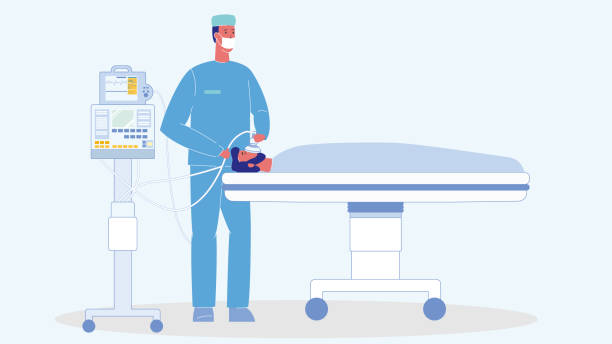 stockillustraties, clipart, cartoons en iconen met man in reanimatie cartoon vector illustratie - ventilator bed