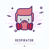 Man in respirator thin line icon. Modern vector illustration of protective mask.