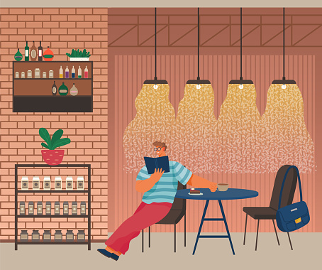 Man in Restaurant or Cafe Reading Book Vector