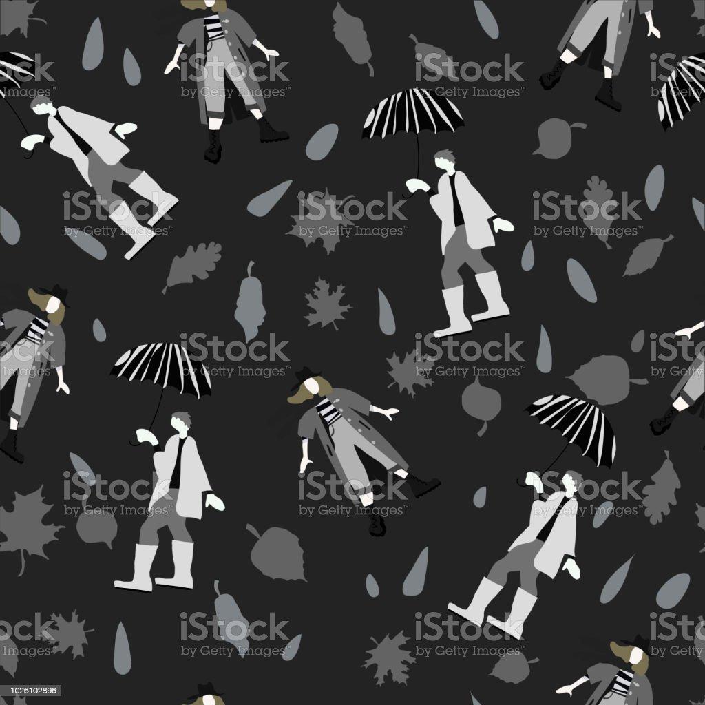 傘とバナー ポストカード壁紙のスカーフ ベクトル パターンの女性の下
