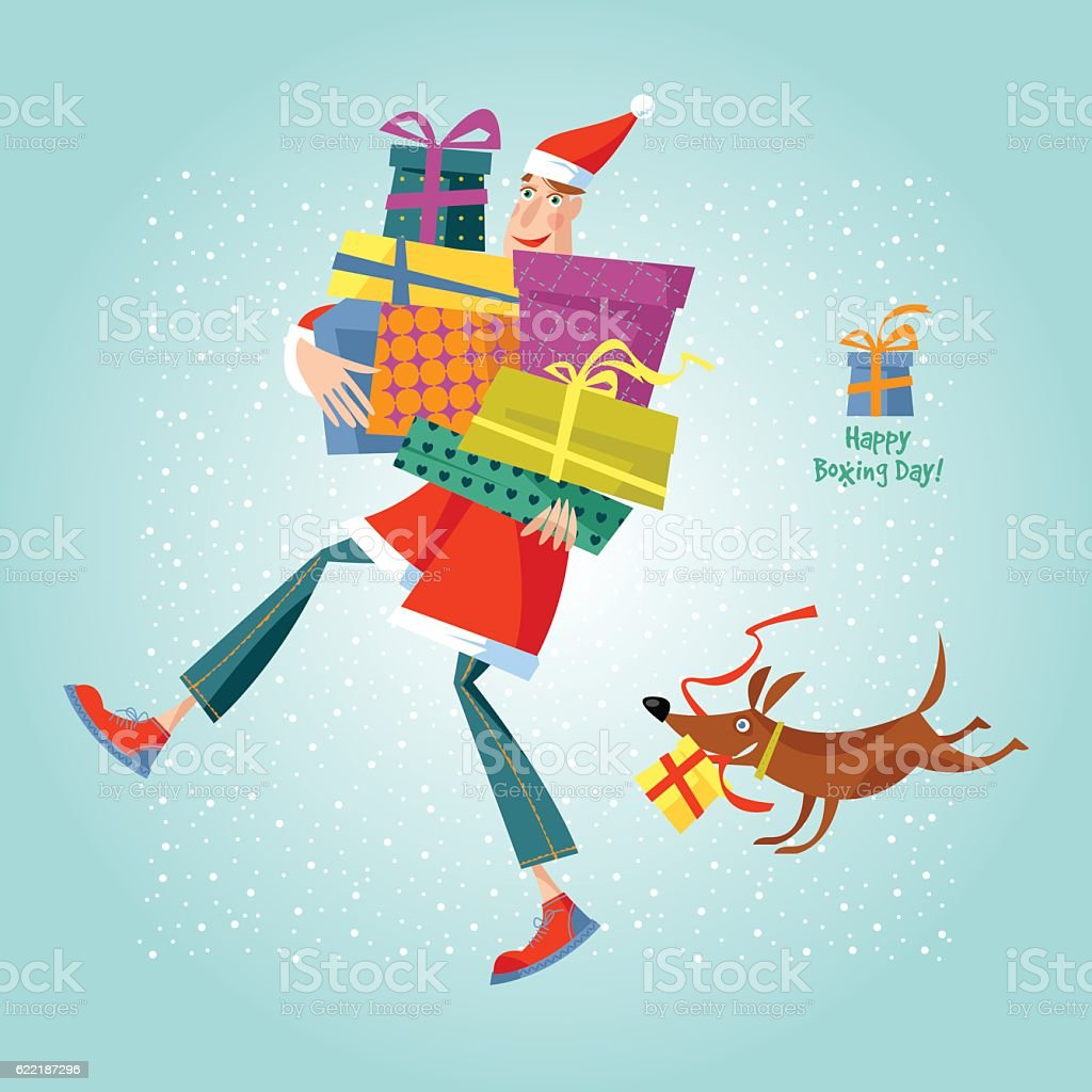 Man in Santa Claus suit holding a pile of gifts. ベクターアートイラスト