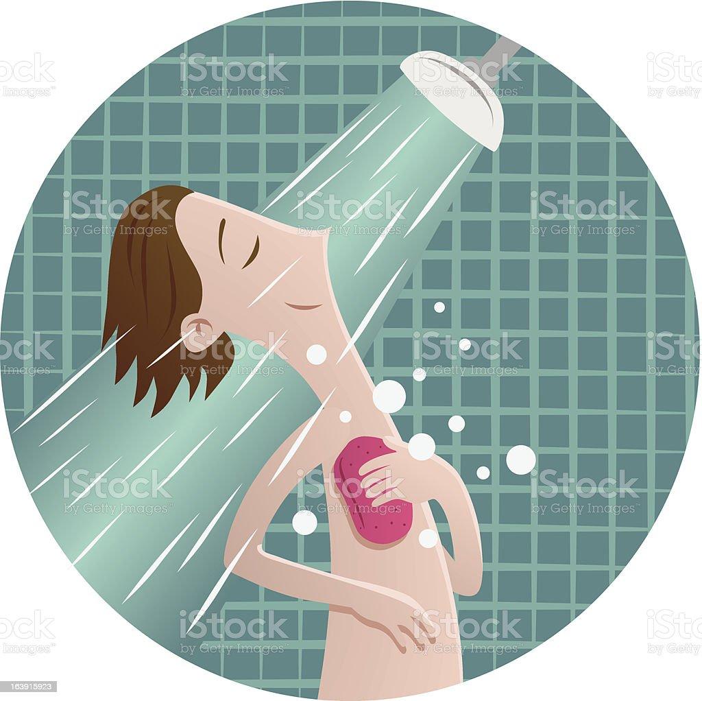 Man in shower vector art illustration