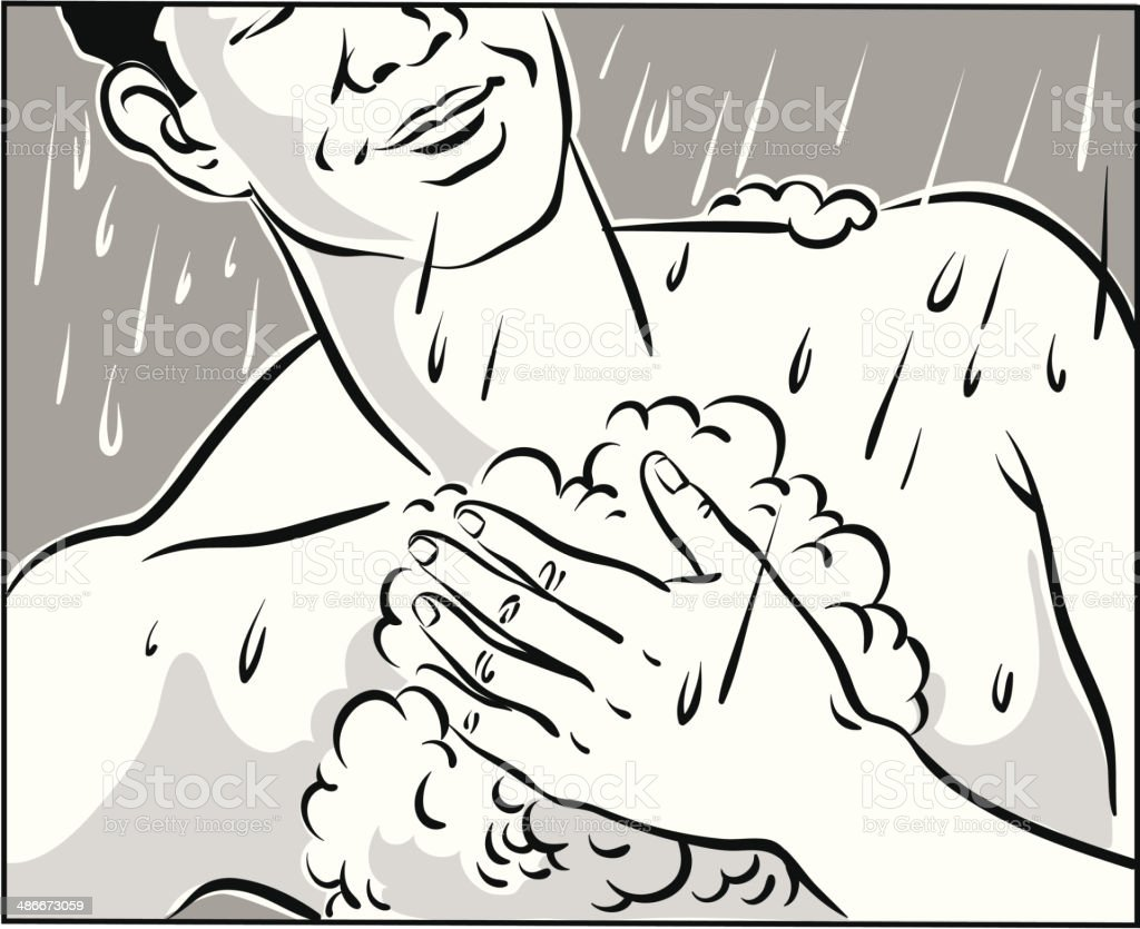 man in shower vector art illustration
