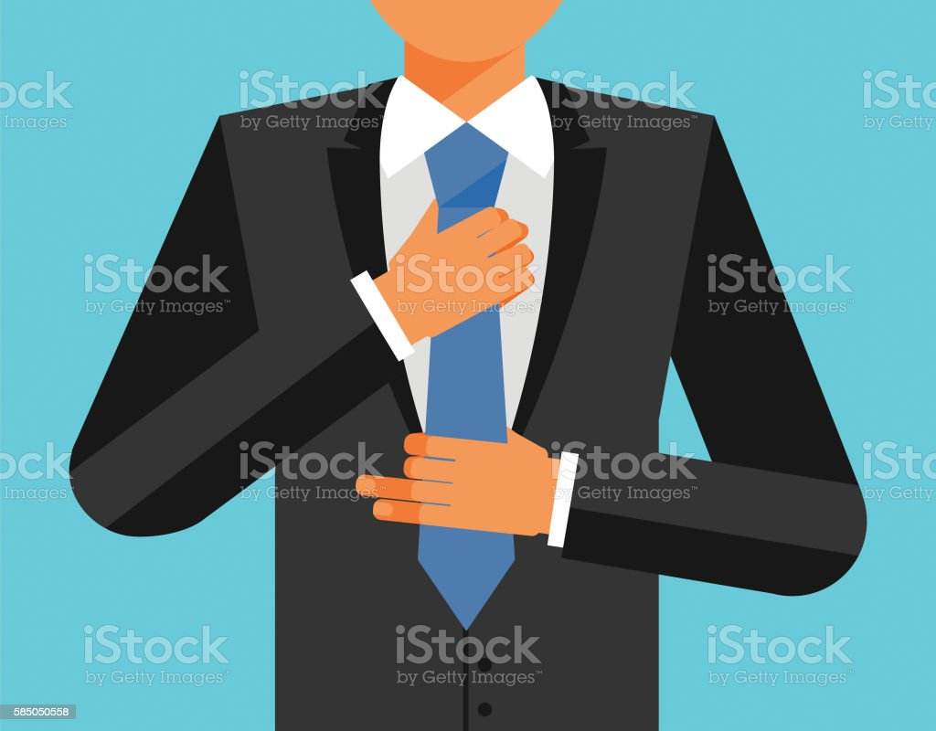 Man in suit is adjusting his tie, colorful illustration vector art illustration