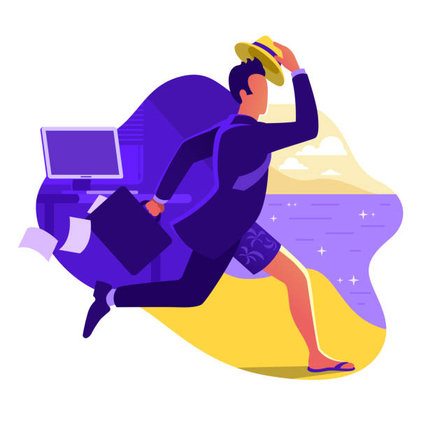 Man in suit running from office to the beach. Escape from office work. Going on vacation. Businessman with briefcase run to the sea. Weekend in a tropical country. Flat vector illustration. Man in suit running from office to the beach. Escape from office work. Going on vacation. Businessman with briefcase run to the sea. Weekend in a tropical country. Flat vector illustration. seyahat noktaları illustrationsları stock illustrations