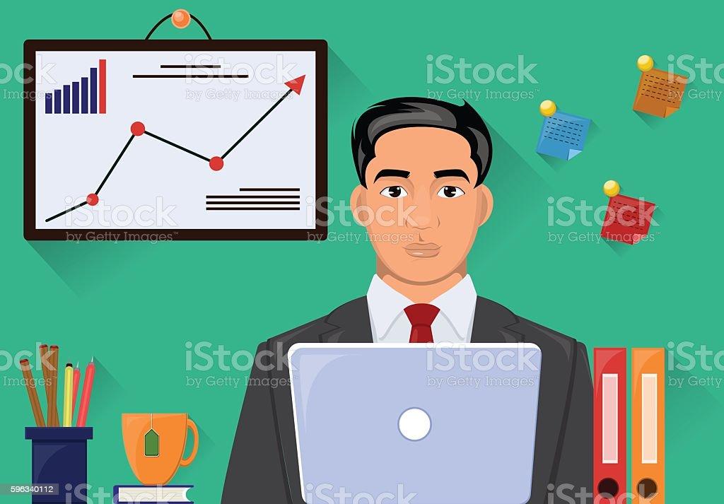 Man in suit working on workstation desk. Vector illustration Lizenzfreies man in suit working on workstation desk vector illustration stock vektor art und mehr bilder von akte