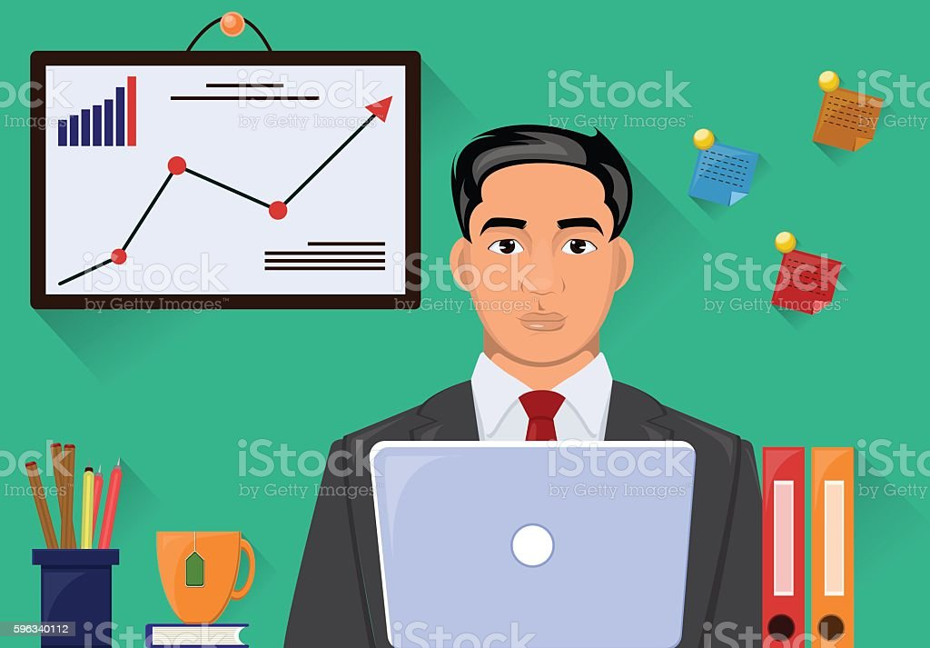 Man in suit working on workstation desk. Vector illustration royalty-free man in suit working on workstation desk vector illustration stock vector art & more images of adult