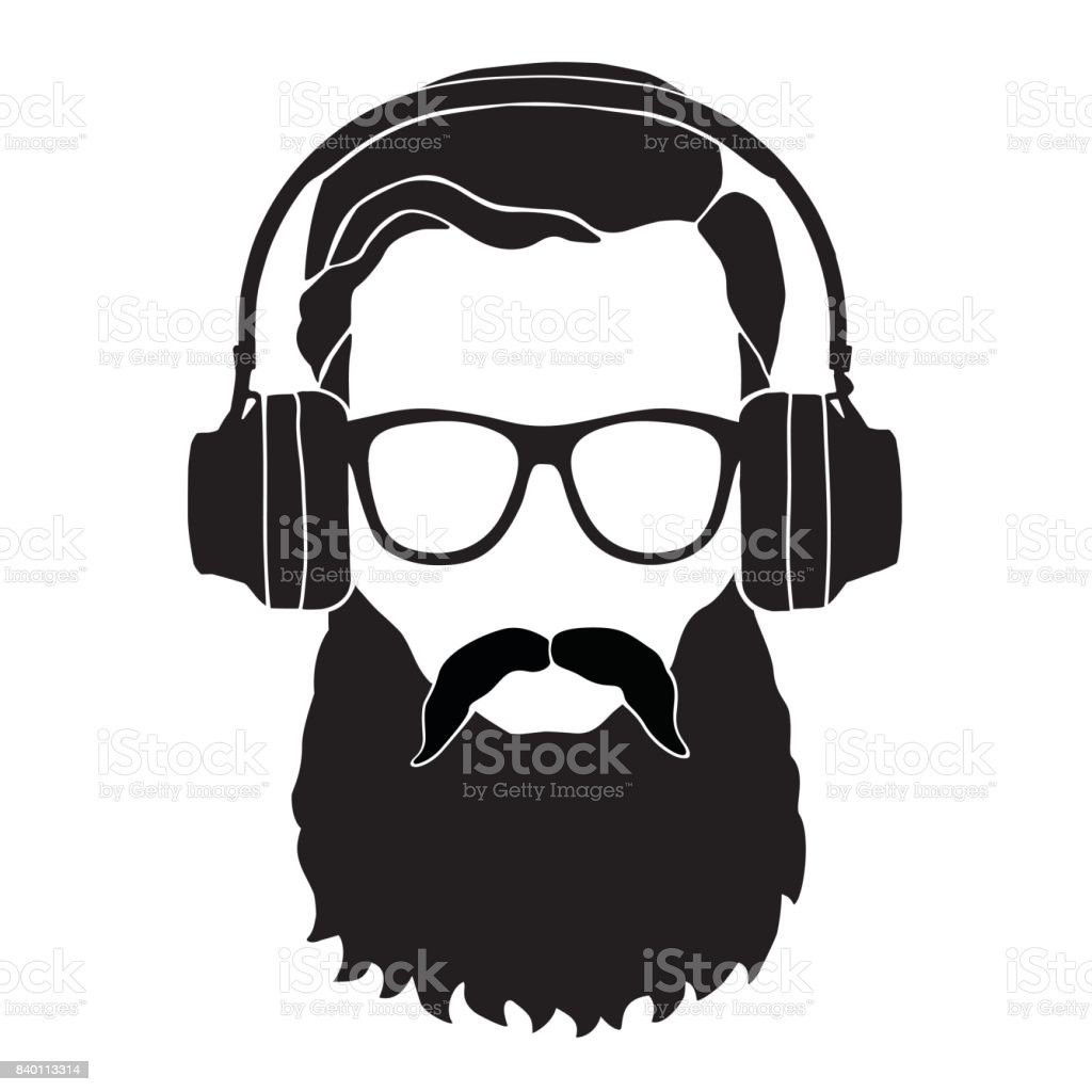 Man in sunglasses and headphones. Style haircut and beard. Vector icon. Fashion silhouette hipster style, vector illustration vector art illustration