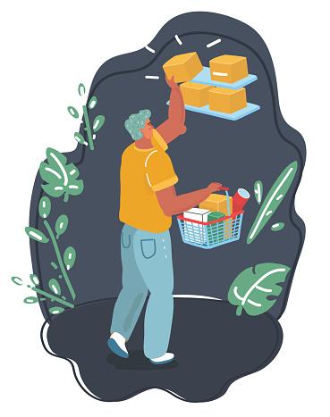 Man with full shopping cart - eps10 vector illustration.