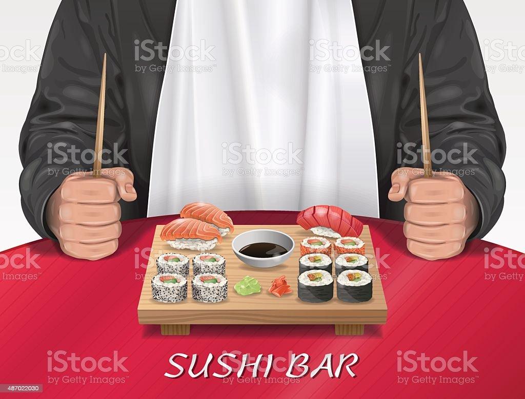 Homme au Bar à sushis - Illustration vectorielle