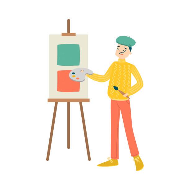 stockillustraties, clipart, cartoons en iconen met man in trui en cap tekening op ezel vector illustratie - alleen één jonge man