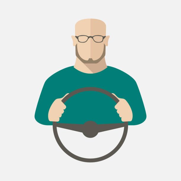 A man in sweater and glasses is driving a car. Vector illustration. vector art illustration