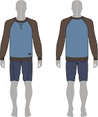 Full length man's grey silhouette figure in a sweatshirt and skinny shorts template (front & back view). Vector illustration isolated on white background