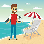 man in the beach character vector illustration design
