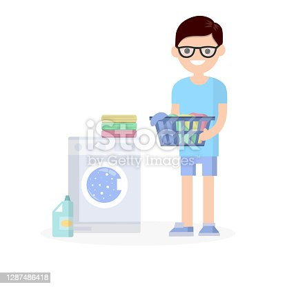 istock Man in the blue dress with folded clothes. Cartoon flat illustration 1287486418