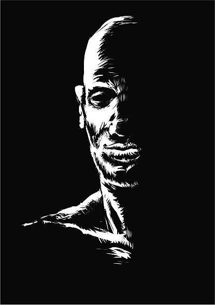 Man in the dark vector art illustration