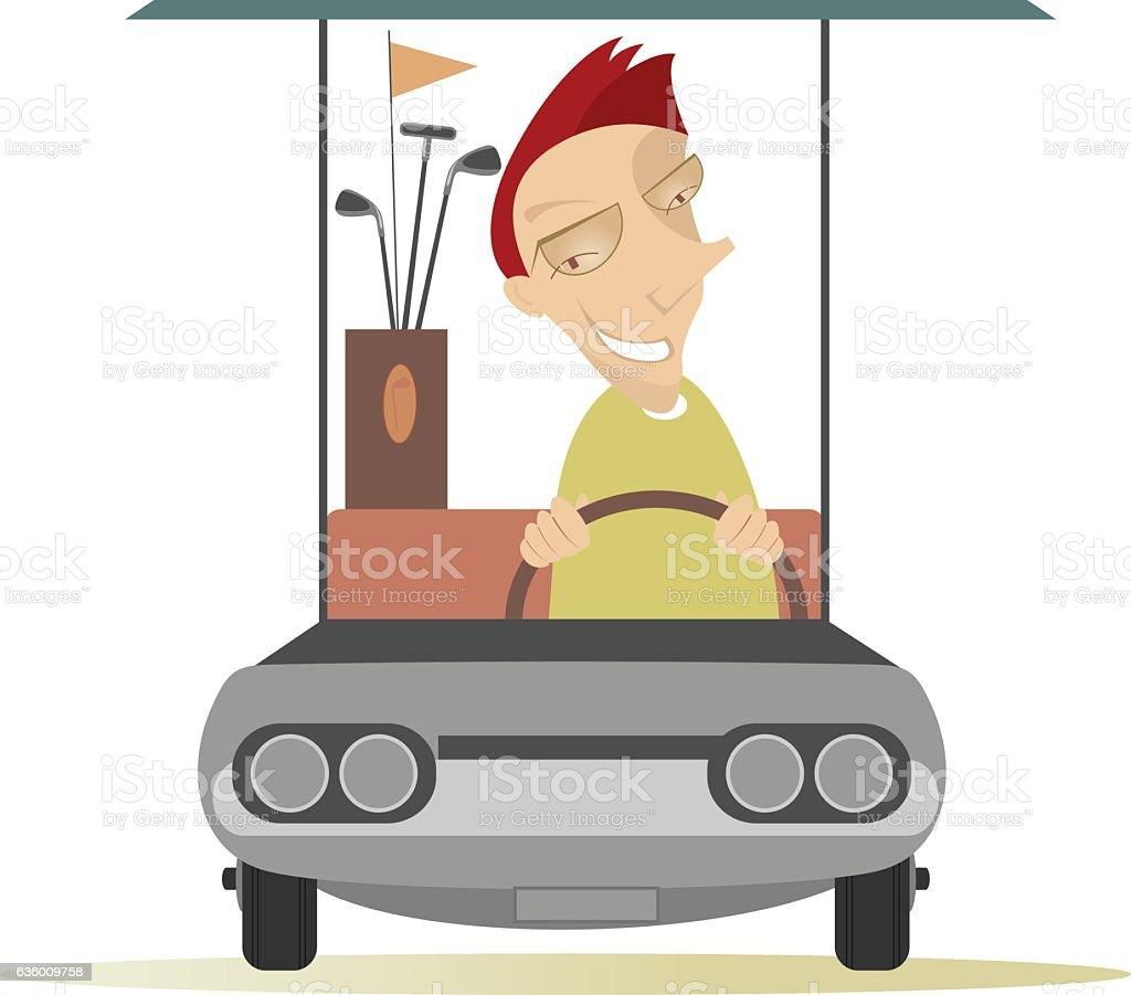 Man in the golf cart vector art illustration
