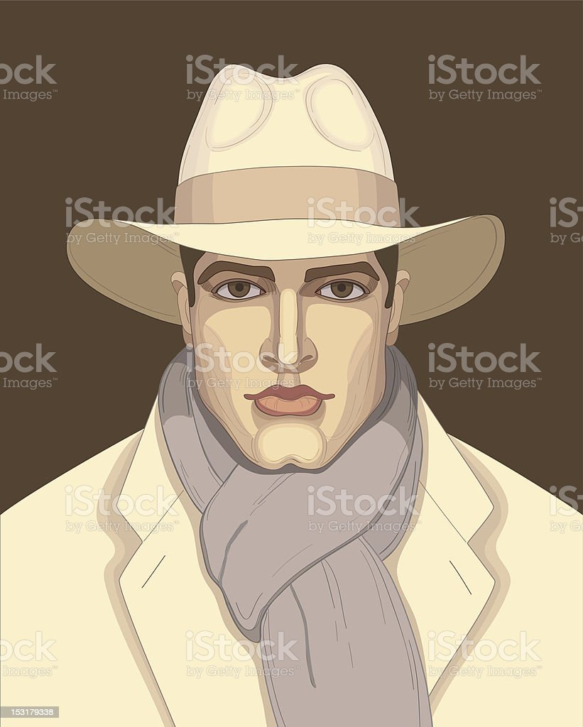 man in the hat vector art illustration