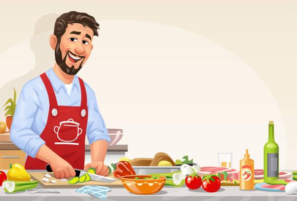 ilustrações, clipart, desenhos animados e ícones de homem na cozinha que prepara a refeição - só um homem jovem