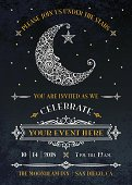 Stylized / Lacy, Man in the moon decorated with craters, swirls, and stars. Party Invitation with vintage decorative borders. Great for a moonlight madness sale, wedding, or any night time event.