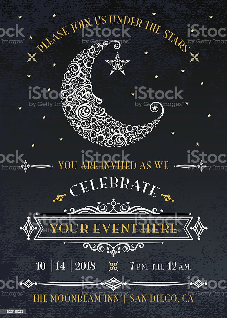 Man in the Moon Invitation vector art illustration