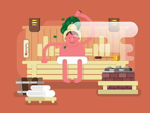 stockillustraties, clipart, cartoons en iconen met man in the sauna steam - sauna