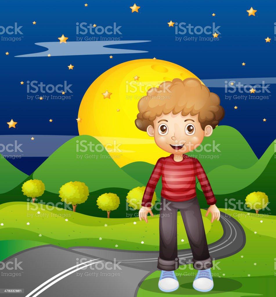 Man in the street wearing a stripe sweatshirt royalty-free stock vector art