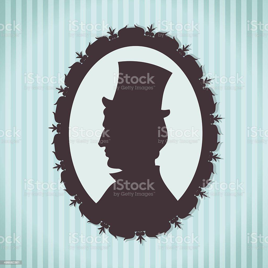 Hombre con sombrero de copa Silueta retrato contra fondo rayado ilustración  de hombre con sombrero de 7e469d79047