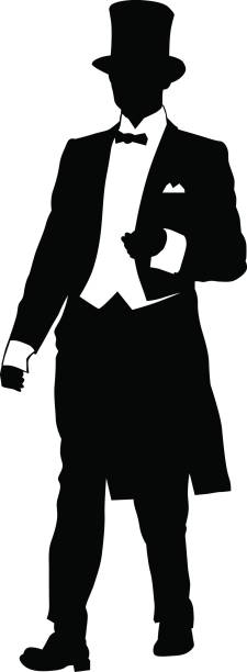 Man in top hat Man in dress coat and a top hat on a white background tuxedo stock illustrations