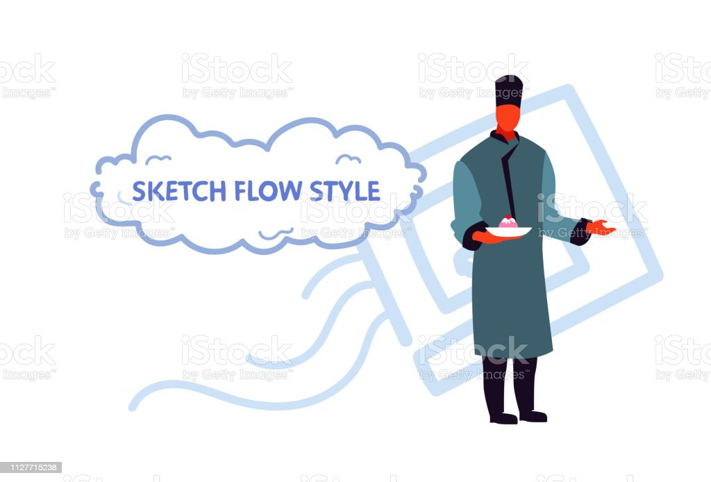 7b541c25 man in traditional clothes and hat waiter holding plate with cake male  cartoon character full length
