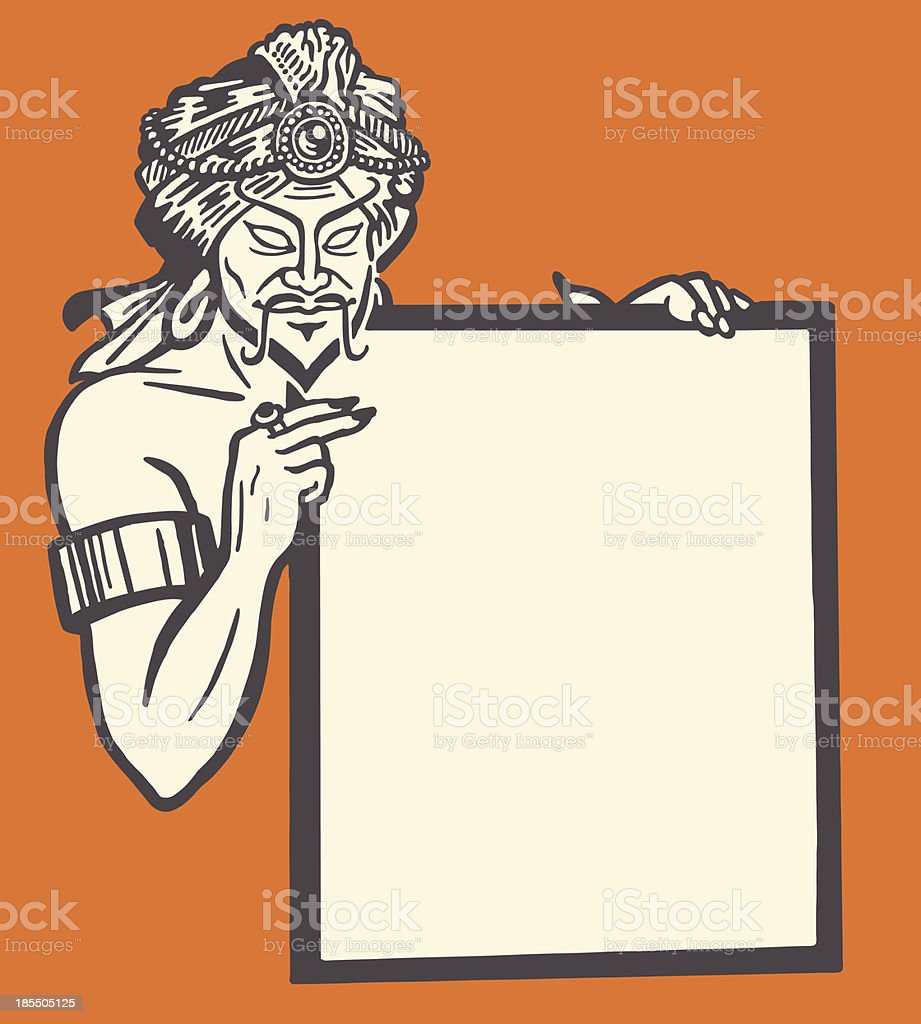 Man in Turban Holding Blank Sign royalty-free stock vector art