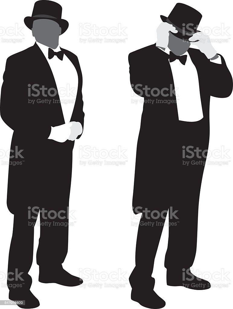 Man in Tuxedo Silhouettes vector art illustration