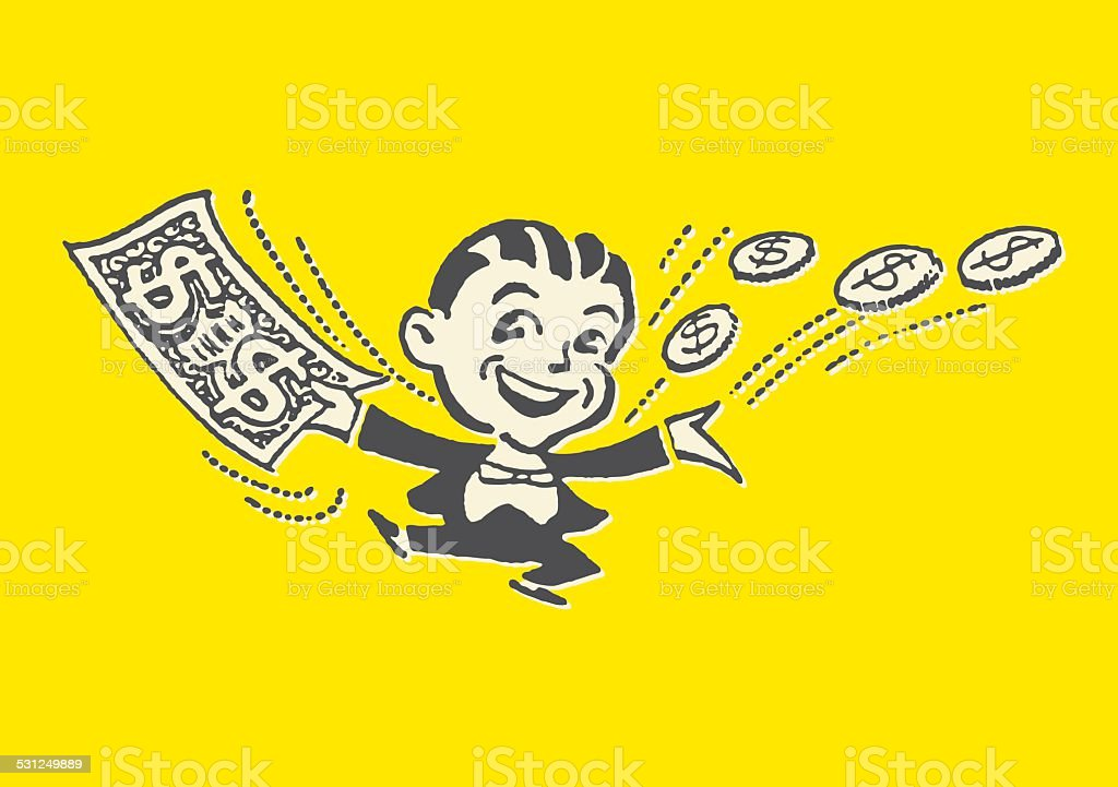 Man in Tuxedo with Money All Around Him http://csaimages.com/images/istockprofile/csa_vector_dsp.jpg 2015 stock vector