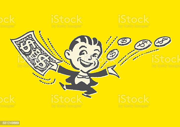 Man In Tuxedo With Money All Around Him Stock Illustration - Download Image Now