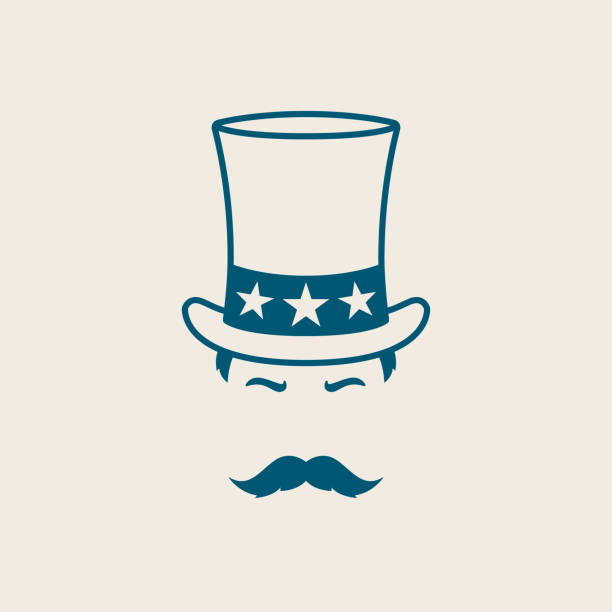 ilustrações de stock, clip art, desenhos animados e ícones de man in uncle sam hat. illustration for independence day america. uncle sam avatar. - míssil terra ar