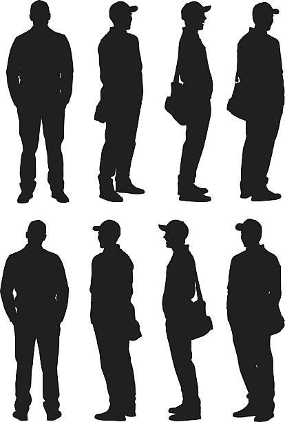illustrazioni stock, clip art, cartoni animati e icone di tendenza di man in various action - ritratto 360 gradi