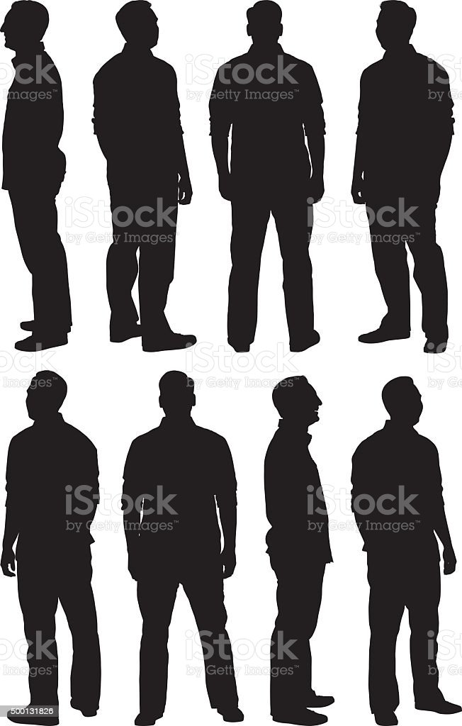 Man in various poses vector art illustration