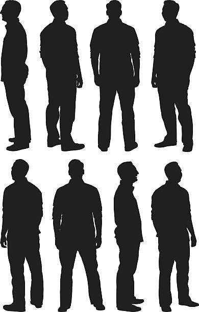 illustrazioni stock, clip art, cartoni animati e icone di tendenza di uomo in varie pose - ritratto 360 gradi