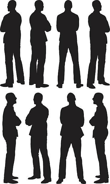 illustrazioni stock, clip art, cartoni animati e icone di tendenza di uomo in vari vista - ritratto 360 gradi