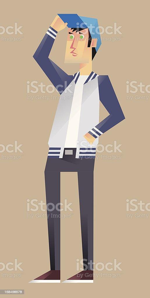 Man in Varsity Jacket (3/5) royalty-free stock vector art