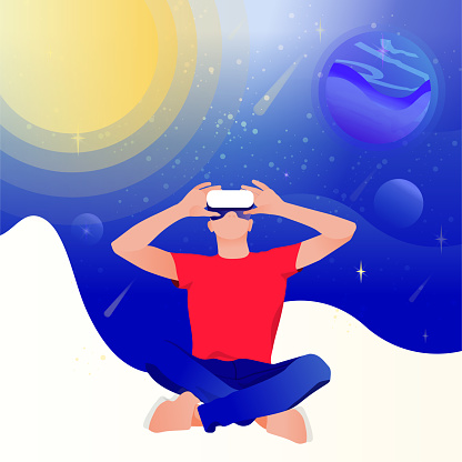 Man in virtual reality glasses on a space abstract background.