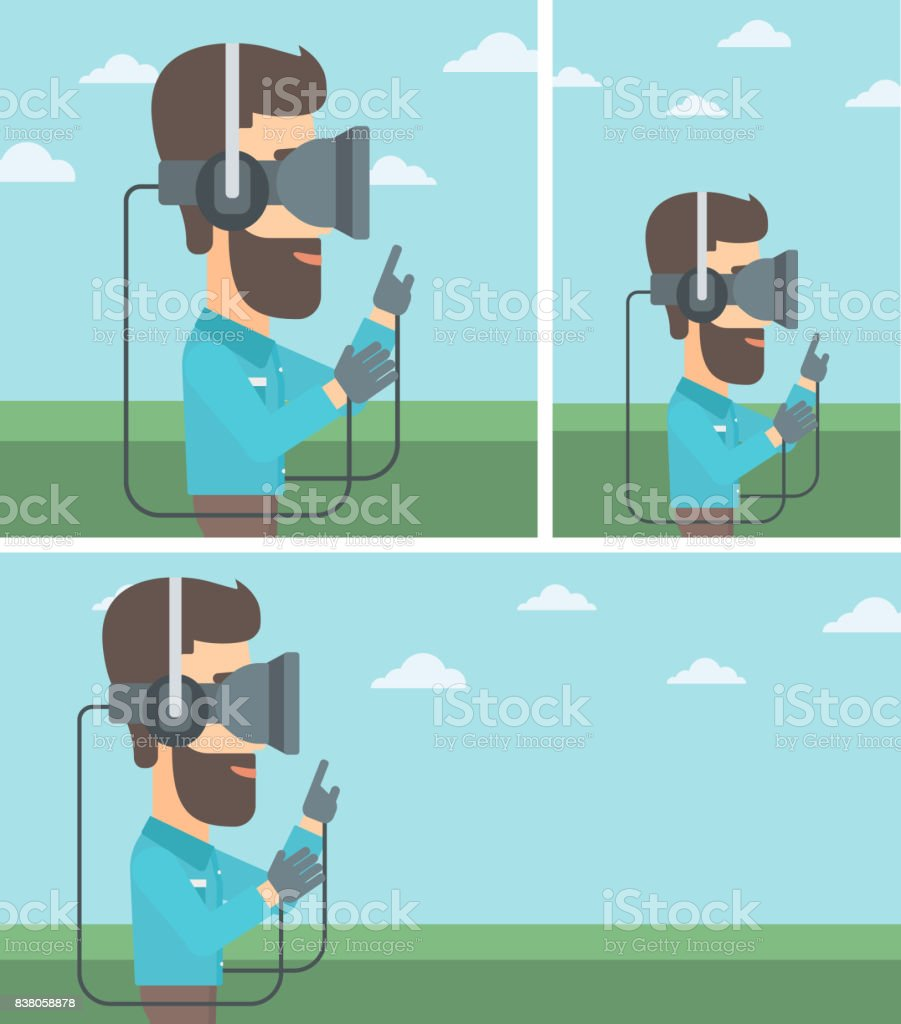 8ccd507db621 Man In Virtual Reality Headset Playing Video Game Stock Vector Art ...