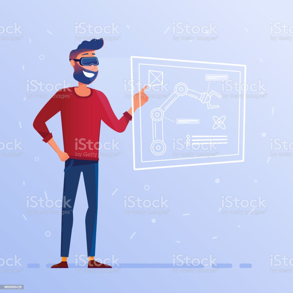 A man in VR headset with hud interface showing technological blueprint with robotic arm - Royalty-free Adult stock vector